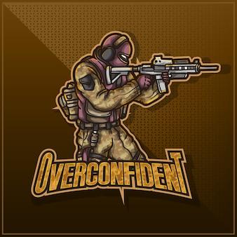 Design de logotipo de mascote esportivo editável e personalizável, logotipo esports twitch exército soldado militar