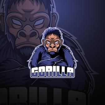 Design de logotipo de mascote esportivo gorila