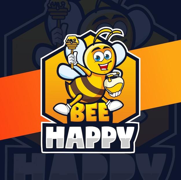 Design de logotipo de mascote feliz de abelha