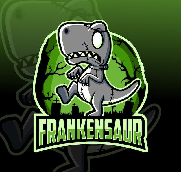Design de logotipo de mascote frankenstein dinossauro com estilo esport
