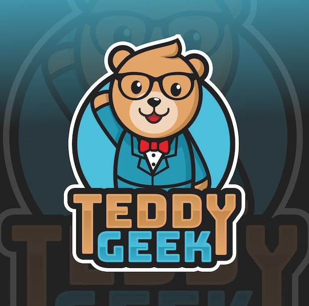 Design de logotipo de mascote geek urso teedy