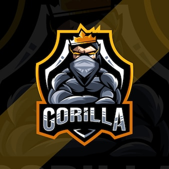 Design de logotipo de mascote gorila rei