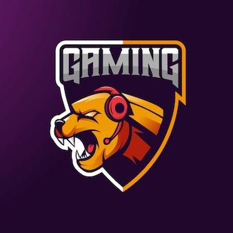 Design de logotipo de mascote jaguar com estilo de conceito moderno ilustração para crachá