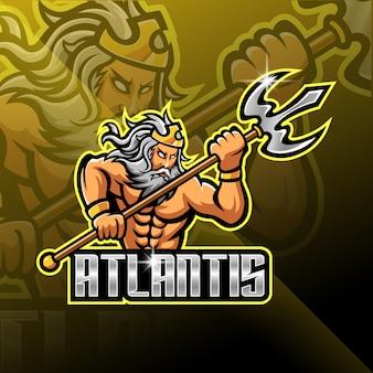 Design de logotipo de mascote poseidon com arma tridente