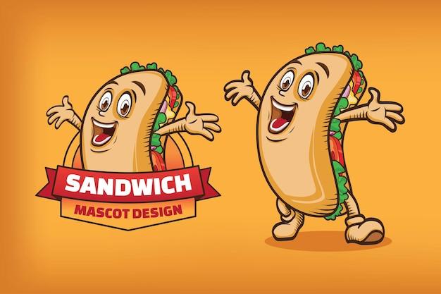 Design de logotipo de mascote sanduíche