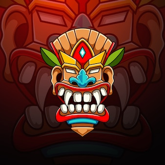 Design de logotipo de mascote tiki esport