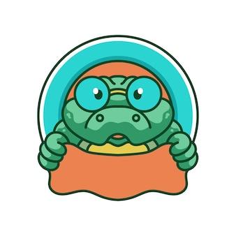 Design de logotipo de mascotes fofos de crocodilo