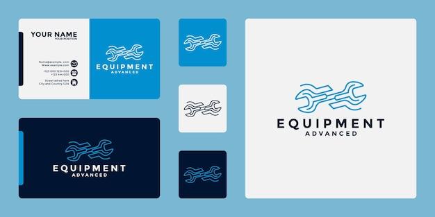Design de logotipo de mecânico de equipamentos para sua oficina e equipamentos de desenvolvimento