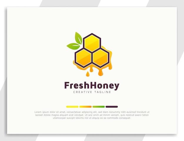 Design de logotipo de mel fresco com folhas