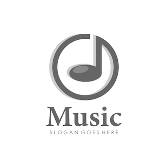 Design de logotipo de melodia de notas de música