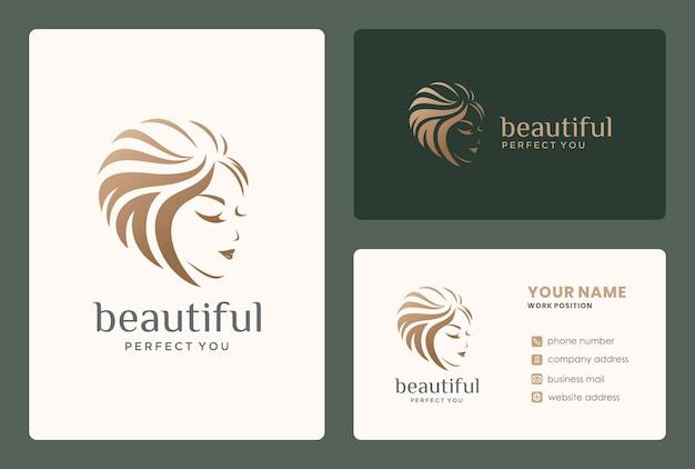 Design de logotipo de menina bonita com cartão de visita