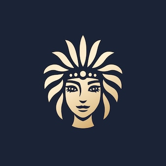Design de logotipo de menina nativa, arte vetorial de mulher tribal