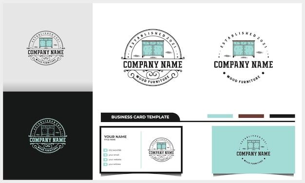 Design de logotipo de mesa de distintivo e móveis vintage com modelo de cartão de visita