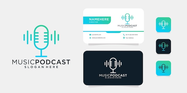 Design de logotipo de microfone de monograma de podcast de música com modelo de cartão de visita