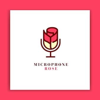Design de logotipo de microfone rosa