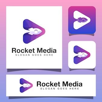 Design de logotipo de mídia de foguete em cores modernas