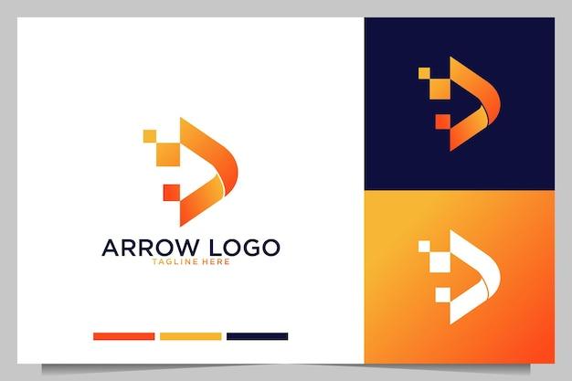 Design de logotipo de mídia de seta moderna