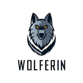 Design de logotipo de modelo de vetor de lobo