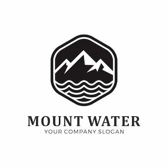 Design de logotipo de montagem e água