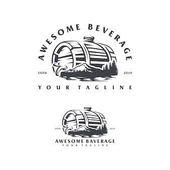 Design de logotipo de montanha de bebidas