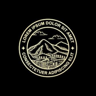 Design de logotipo de montanha de estilo de arte de linha
