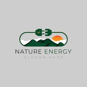 Design de logotipo de montanha elétrica conceito de logotipo de energia, energia e eletricidade