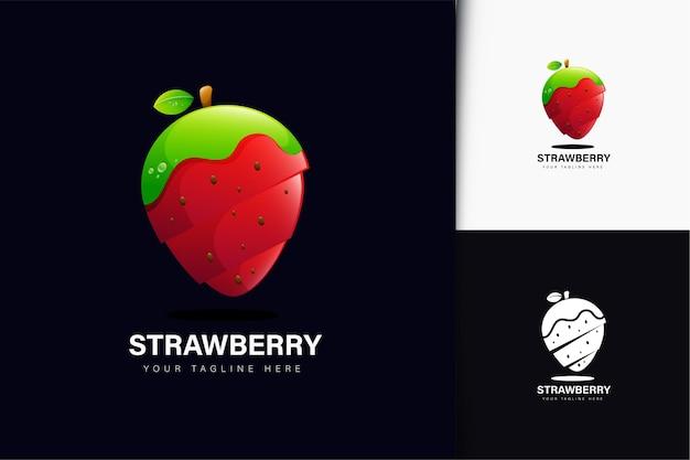 Design de logotipo de morango com gradiente