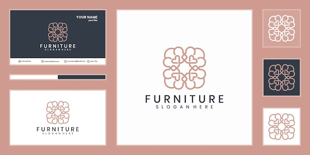 Design de logotipo de móveis. linha de design de interiores luxuosos