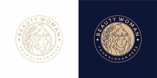 Design de logotipo de mulher bonita com estilo vintage