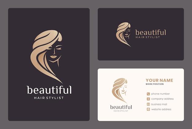 Design de logotipo de mulher de beleza com cartão de visita