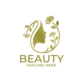 Design de logotipo de mulher de beleza dourada