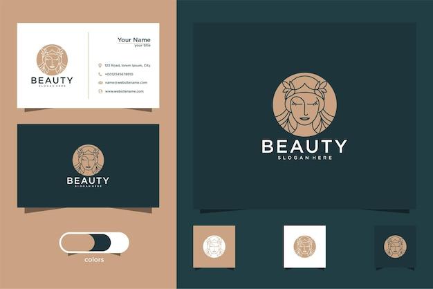 Design de logotipo de mulher de beleza e cartão de visita