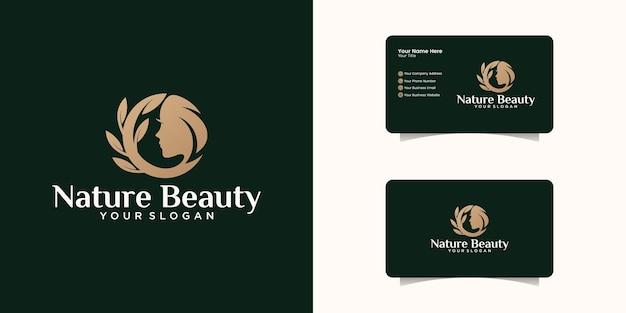 Design de logotipo de mulher de beleza e inspiração de cartão de visita