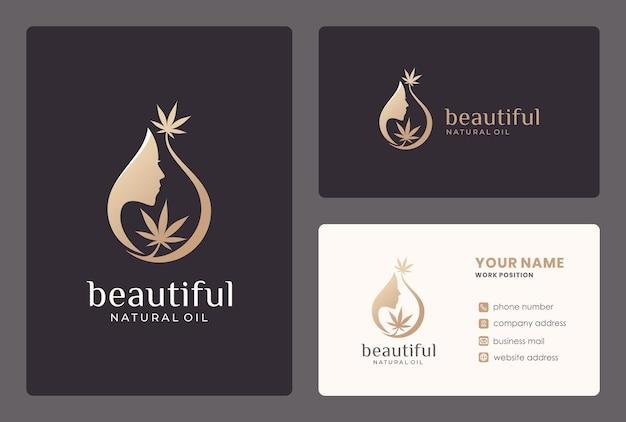 Design de logotipo de mulher de beleza elegante com cartão de visita