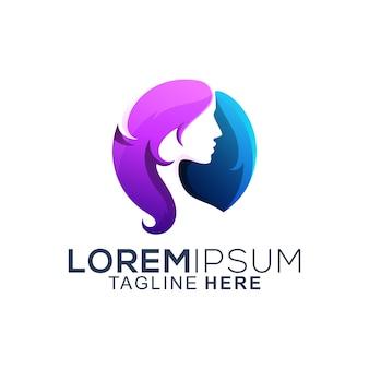 Design de logotipo de mulher de cabelos coloridos