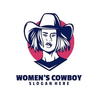 Design de logotipo de mulheres cowboy