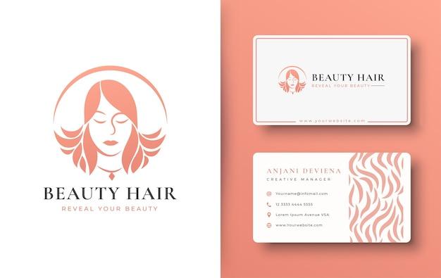 Design de logotipo de mulheres de beleza com cartão de visita