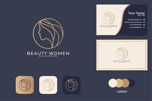 Design de logotipo de mulheres de beleza e cartão de visita. bom uso para spa, salão e logotipo da moda