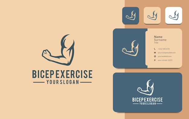 Design de logotipo de músculo de braço ou bíceps para academia e clube de fitness
