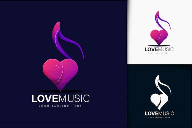 Design de logotipo de música de amor gradiente colorido