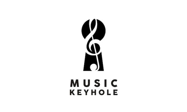 Design de logotipo de música e fechadura