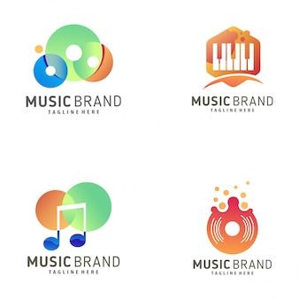 Design de logotipo de música e ícone
