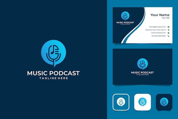 Design de logotipo de música e podcast e cartão de visita