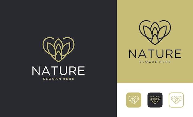 Design de logotipo de natureza de arte de linha de luxo