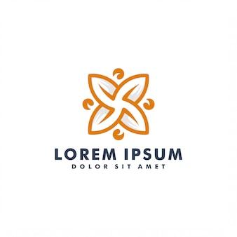Design de logotipo de natureza letra x