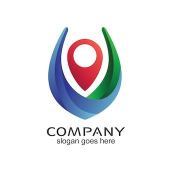 Design de logotipo de navegação de localização de pinos