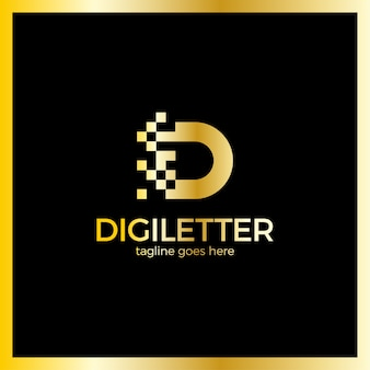 Design de logotipo de negócios corporativos pixel letra d