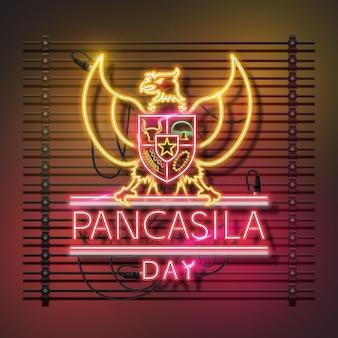 Design de logotipo de néon do dia pancasila