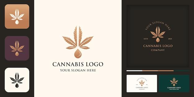 Design de logotipo de óleo de cannabis, maconha e design de cartão de visita