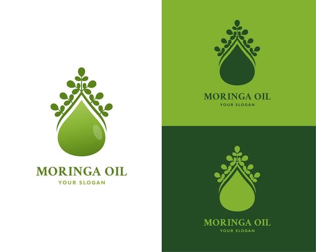 Design de logotipo de óleo de folha de moringa